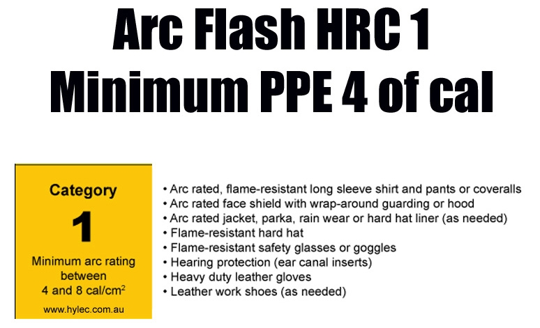 Arc Flash HRC 1 Category  Minimum PPE rating of 4 cal