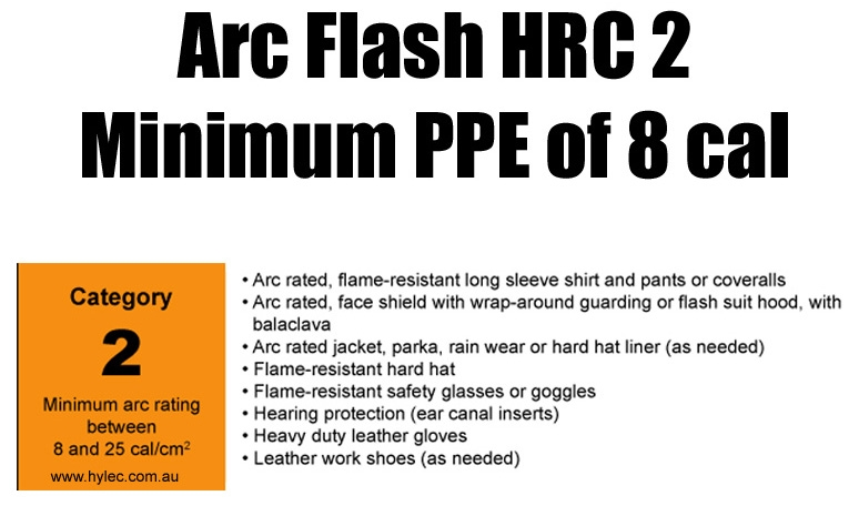 Arc Flash HRC 2 Category  Minimum PPE rating of 8 cal
