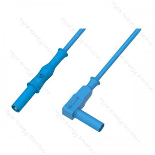 2350-IEC-150Bl 150cm Banana Plug/Right Angle Plug Blue
