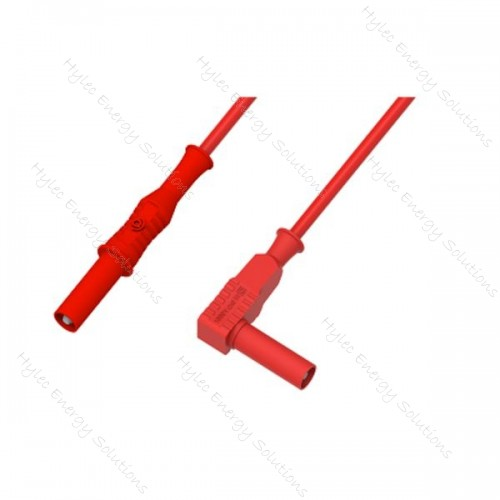 2350-IEC-200R 200cm Banana Plug/Right Angle Plug Red