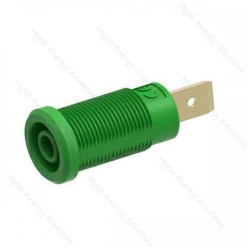 3266-I-ECO-V Green 4mm Banana Socket with Flat Tab