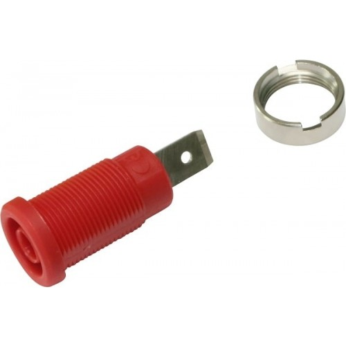 3266-I-R Red 4mm Banana Socket with Flat Tab 1