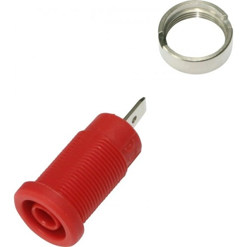 3274-C-R Red 4mm Banana Socket with Flat Tab
