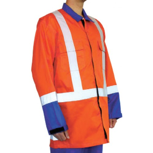 Jacket Spectron with orange and blue reflective tape medium size